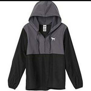 Pink Victoria's Secret Black Gray Windbreaker